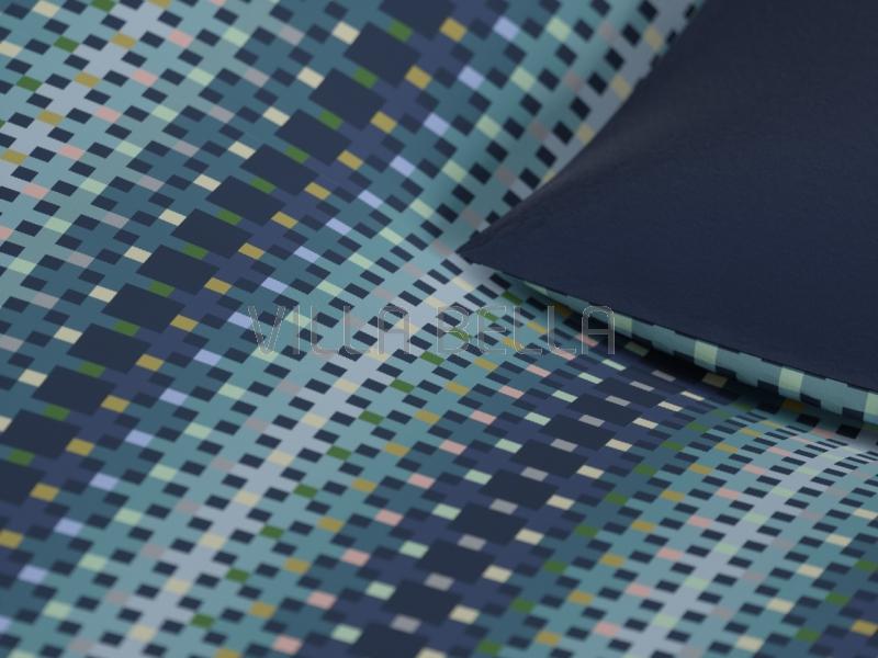 Bico - Squares Blue — Satinbettwäsche