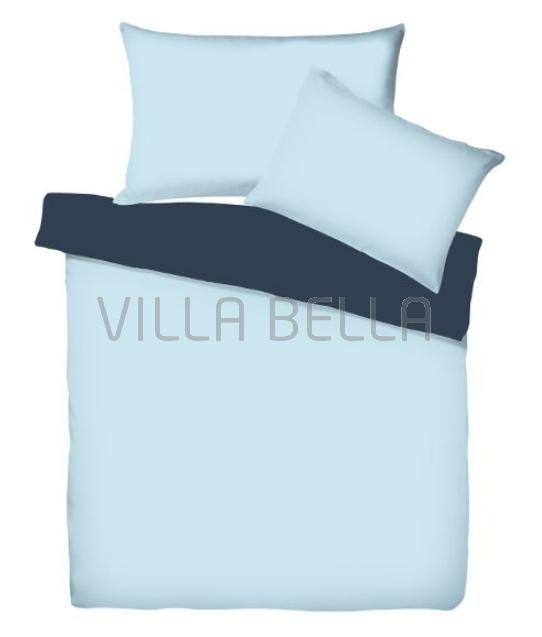 Villa Doubleface Azur/Marine - Satinbettwäsche