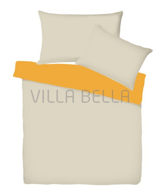 Villa Doubleface Nature/Orange - Satinbettwäsche SETS