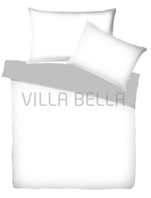 Villa Doubleface Weiss/Schiefer - Satinbettwäsche SETS