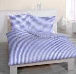 Chalet Blau - Seersuckerbettwäsche Set 160x210+65x100 cm
