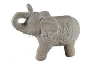 Elefant,gross aus echtem Keramik cremefarben