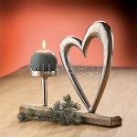 Alu Herz mit Holzsockel