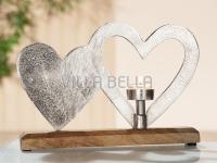 Doppel- Herz mit Holzsockel