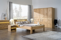 Modernes Designerbett Saint-Luise in Wildeiche mit extravagantem Kopfteil