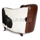 Vintage 1-er  Lounge - Sessel  mit Kuhfellbordüre